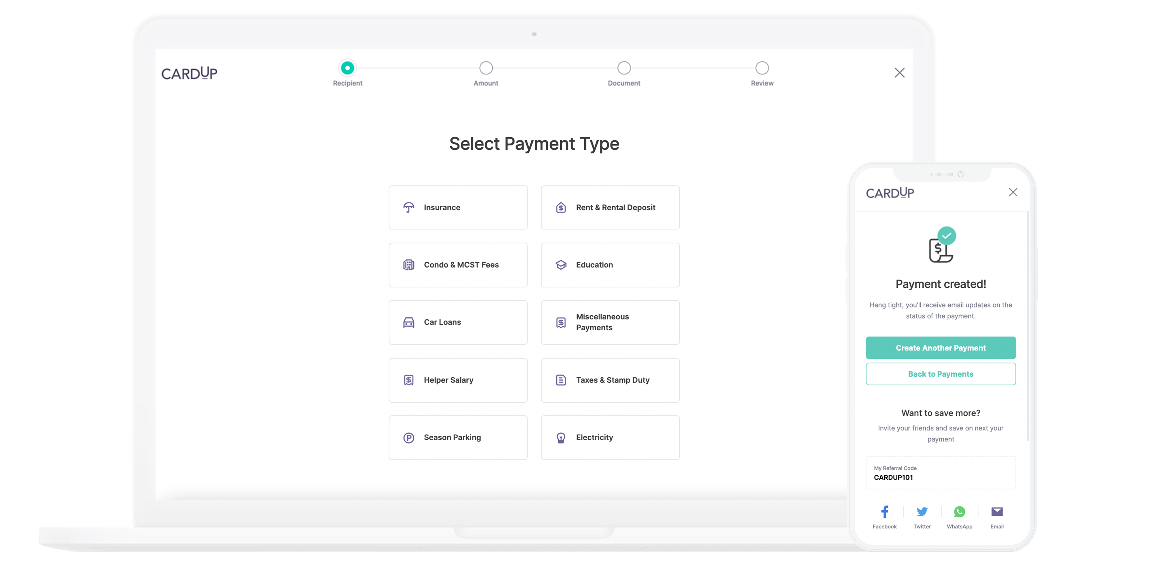 Schedule a payment through CardUp on your laptop, mobile, or any device