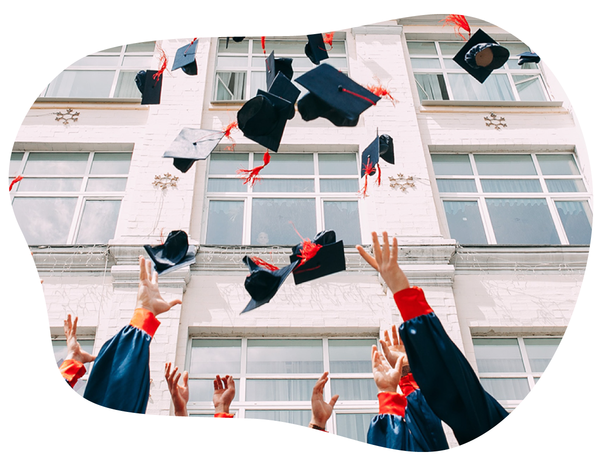 Graduation — Tossing motarboards in the air after graduation