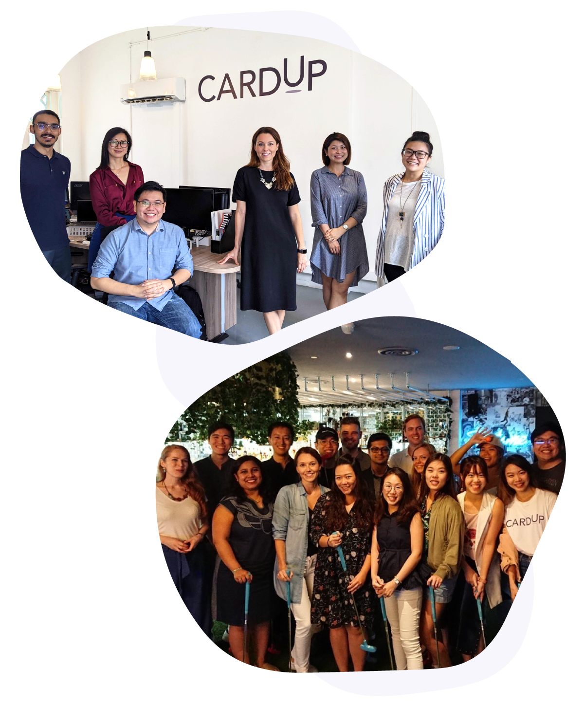 Image of CardUp team in the office and during team bonding day